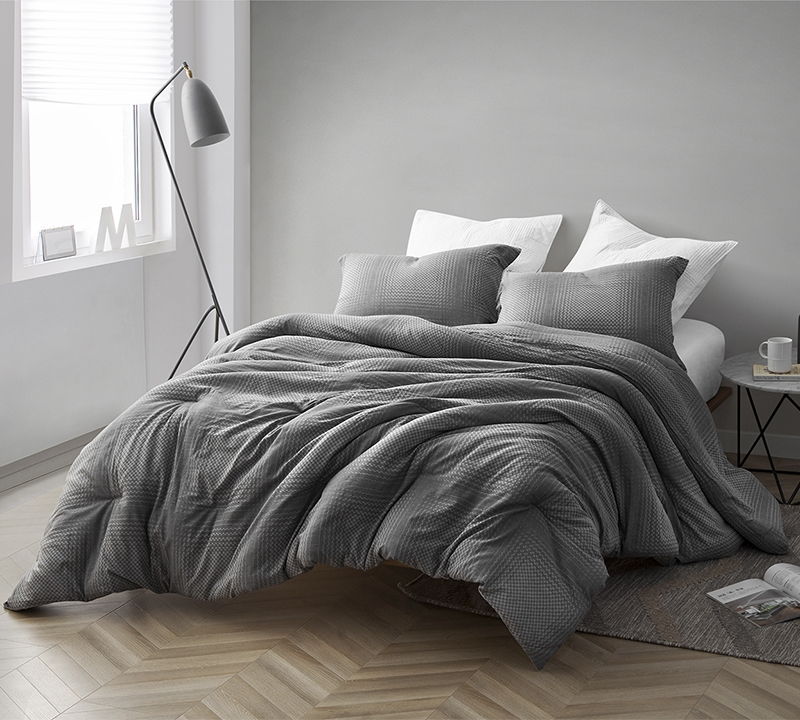 gray depths oversized king comforter 100 yarn dyed cotton bedding