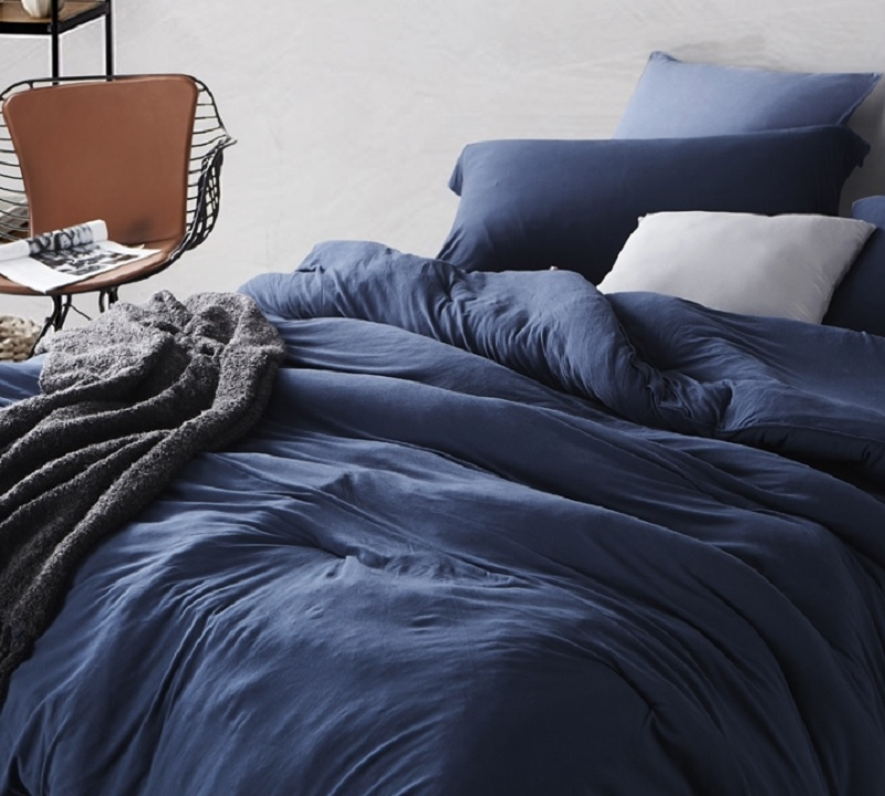best comforter for twin xl queen and king sized beds stylish nightfall navy blue bare bottom super soft bedding
