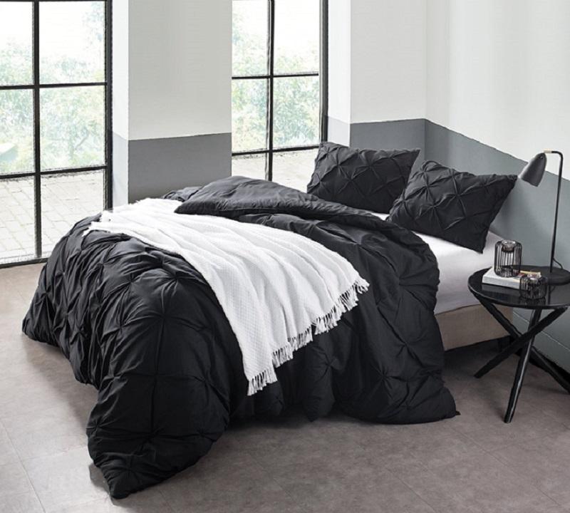 black pin tuck comforter oversized bedding