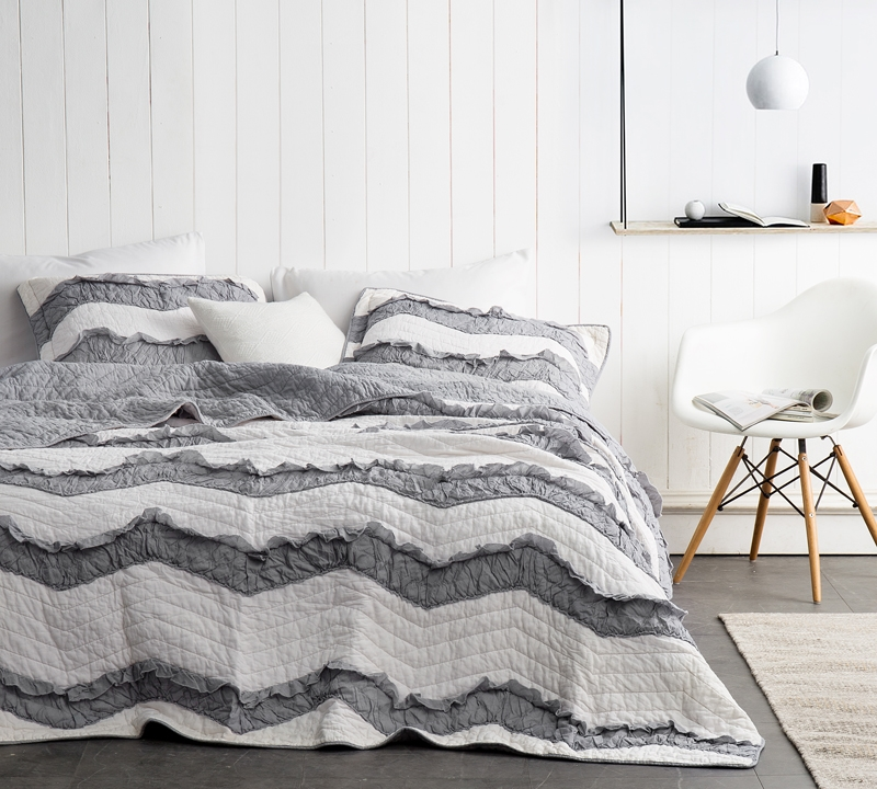 chevron and textured ruffles unique pattern extra long and extra wide king quilt jet stream alloy relaxin chevron ruffles off white and gray two tone
