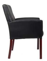 Boss B619 Guest Side Chair Black Leather Plus w/ Mahogany ...