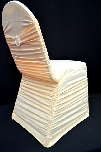 ivory chair covers spandex outdoor folding chairs ruffle cover with band and buckle