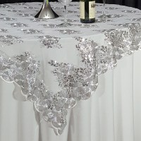 """Silver Swirl Sequin Lace 72"""" x 72"""" Overlay"""