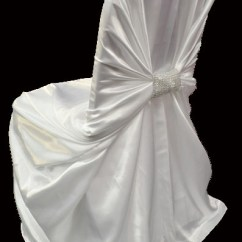 White Universal Chair Covers Spandex Cover High Quality Satin Charmeuse