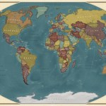 Blue Ocean World Wall Map With Flags This World Map Has Each Country In A Different