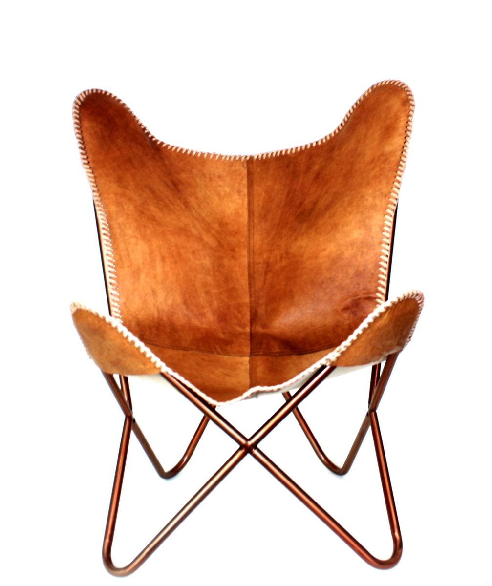 Leather Butterfly Chair Light Brown