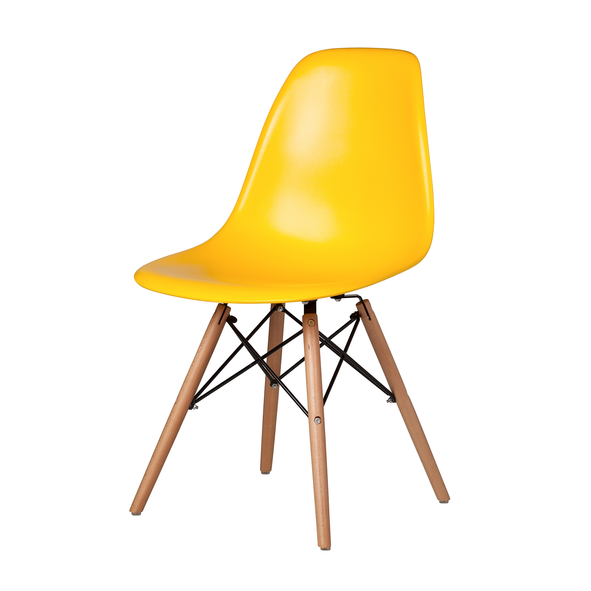 mid century modern plastic chairs walmart folding and tables eames style chair in yellow with dowel legs the khazana home charles dsw side