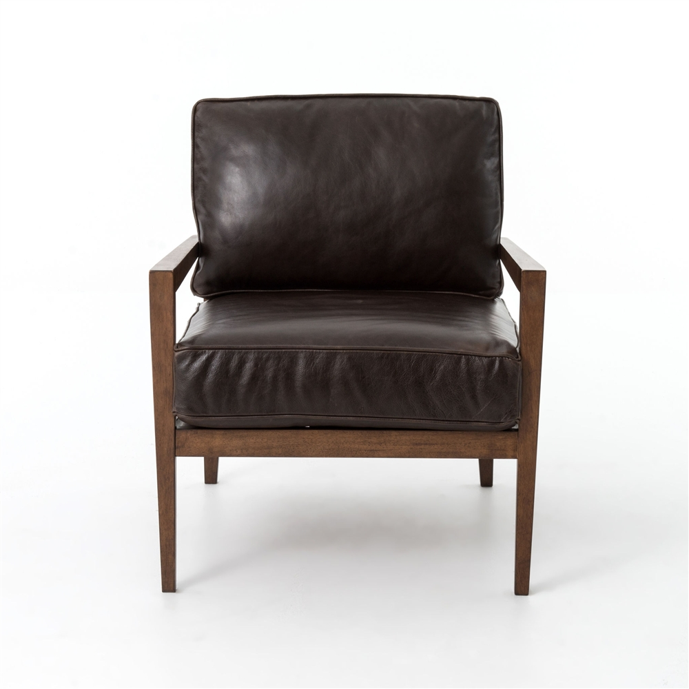 Leather And Wood Chair Kensington Laurent Wood Frame Accent Chair In Leather