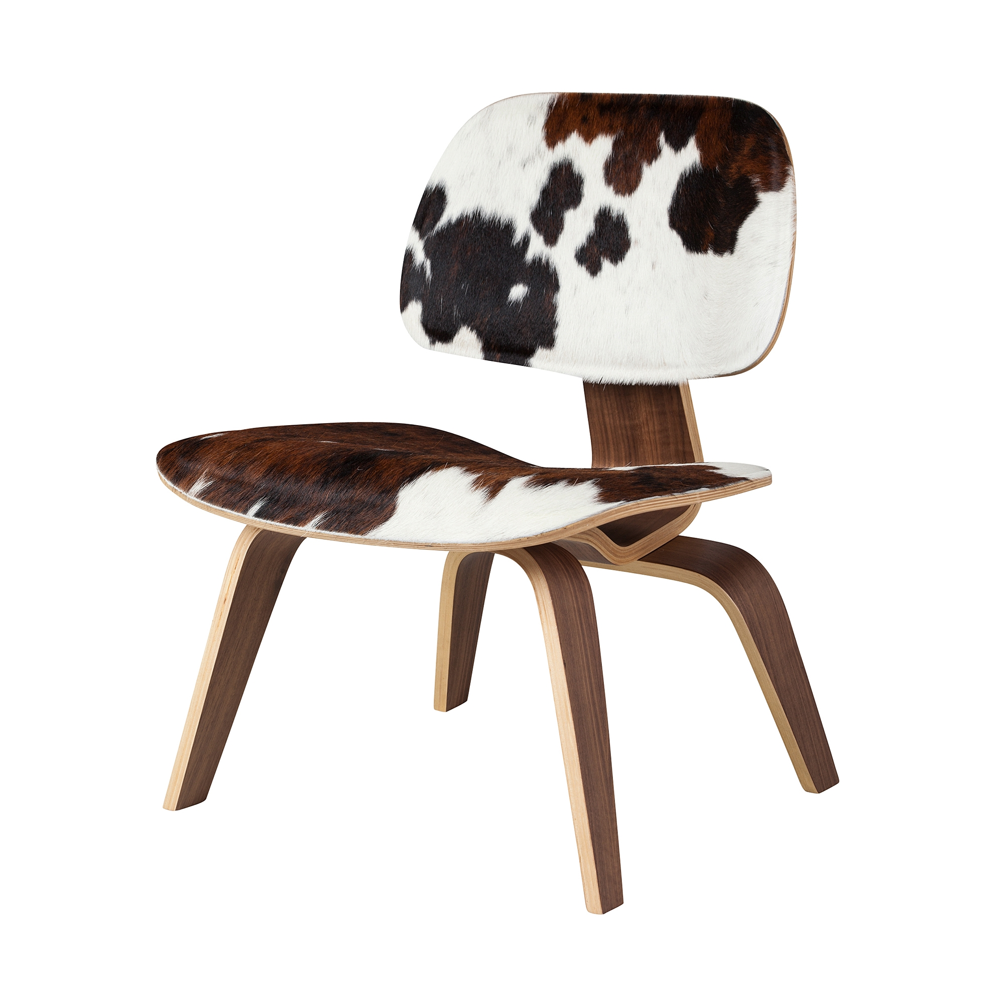 Cow Hide Chair Helena Molded Plywood Lounge Chair Cowhide