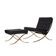 Black Chair And Ottoman Bathroom Stools Chairs Barcelona Leather Champagne Gold The Larger Photo
