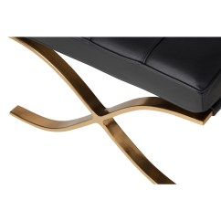 Barcelona Chair Leather Rei Camp Stowaway Low Ottoman Black Champagne Gold The