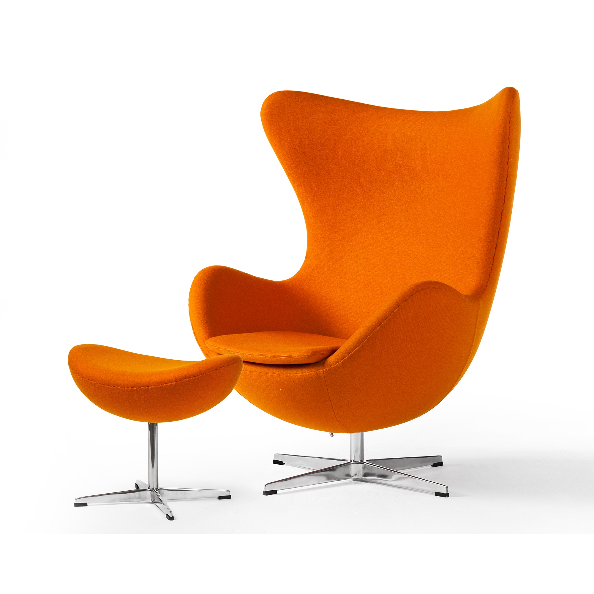 Arne Jacobsen Inspired Egg Swivel Chair In Cashmere Orange