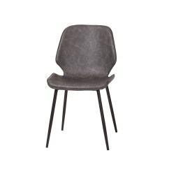 Distressed Dining Chairs Spandex Chair Covers Black Cougar Grey Leather Larger Photo