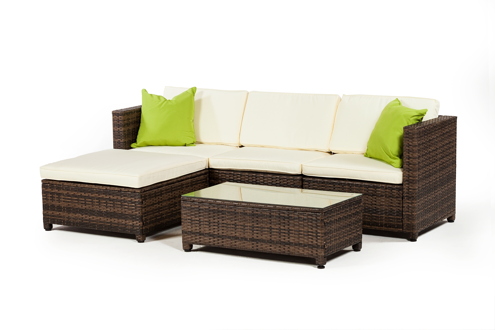 Rattan 3 Piece Sofa Outdoor Furniture 3 Piece Set With Ottoman In Grey Rattan