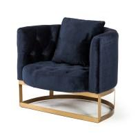 Bach Occasional Chair in Navy Blue Velvet