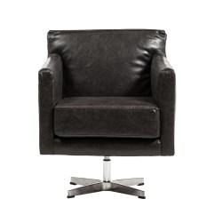 Distressed Leather Desk Chair Banquet Covers Spandex Capstone Swivel Arm In Black Khazana Home Austin The