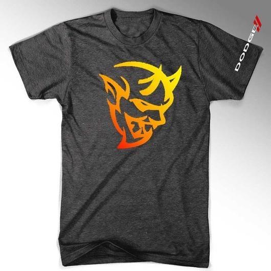 Mens New Dodge Demon Fire Tshirt (heather Black