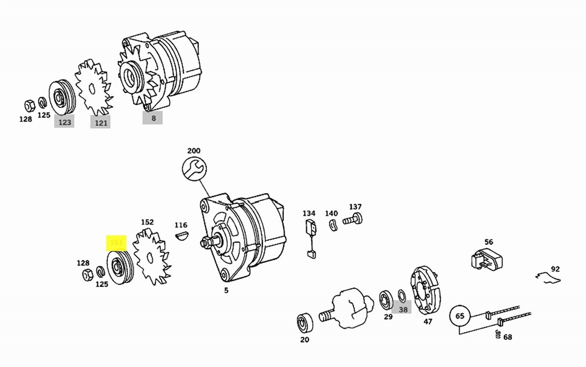 mercedes alternator pulley new oem om615 om616 om617 na diesel u002780om617 alternator wiring diagram  [ 1200 x 753 Pixel ]