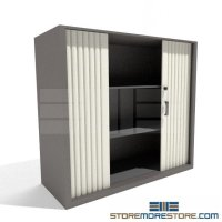 Locking Counter High Storage Cabinet Sliding Doors