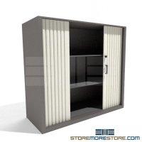 Locking Counter High Storage Cabinet Sliding Doors ...