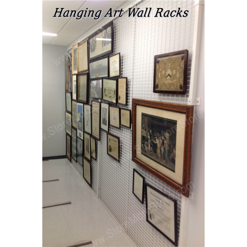 Wall Mounted Mesh Artwork Storage Rack Temporary Display