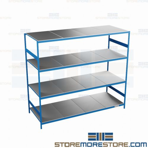 industrial steel shelves with
