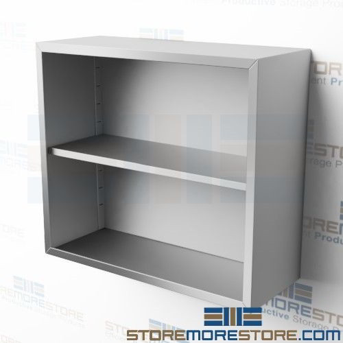 36 Stainless Hanging Cabinet without Doors Open Wall Hung