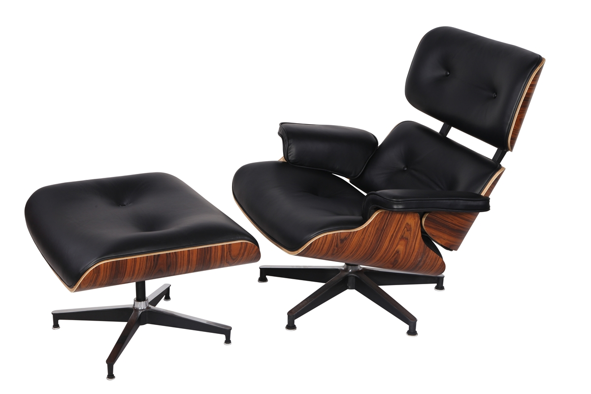 Leather And Wood Chair Eaze Lounge Chair Ottoman In Black Leather And Palisander Wood