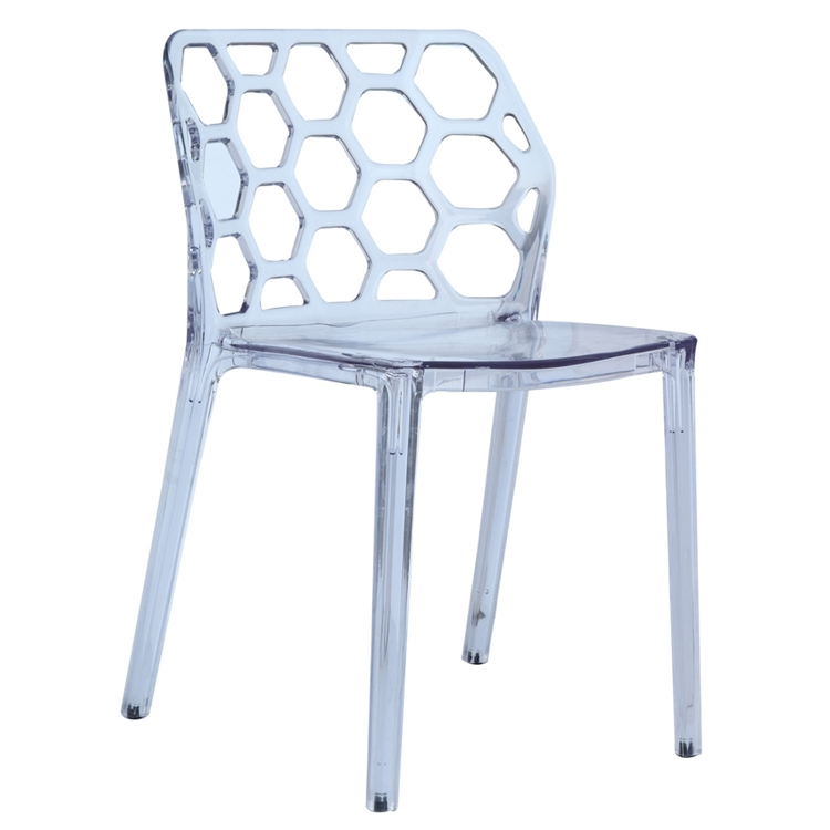 transparent polycarbonate chairs chair back covers australia honeycomb dining fine mod imports set of 6