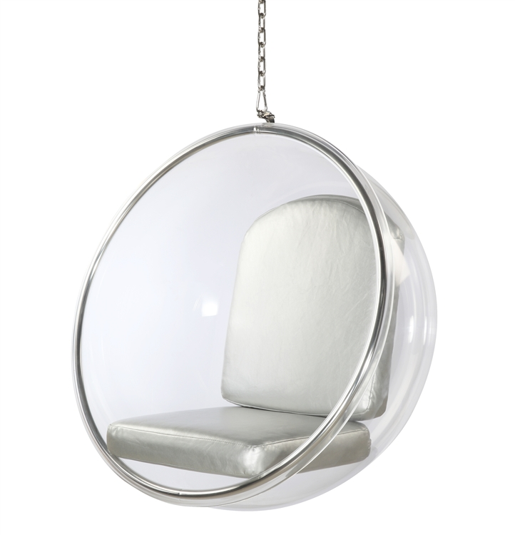 hanging chair clear living room chairs with ottomans eero aarnio style bubble silver cushion fine mod imports