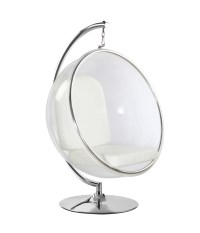 Eero Aarnio Style Bubble Hanging Chair White Cushion