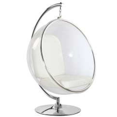 White Cushion Chair Office Vector Eero Aarnio Style Bubble Hanging Fine Mod Imports With Stand