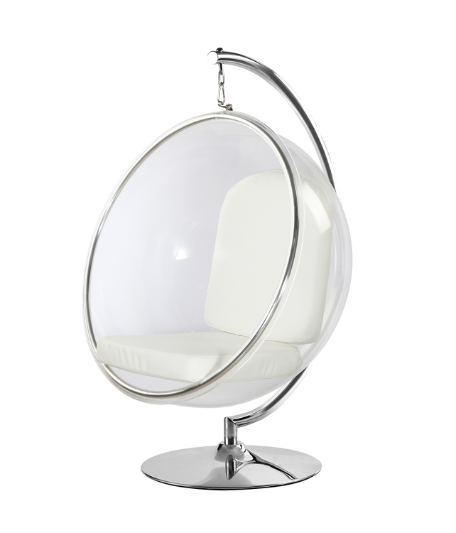 hanging chair stand white makeup stools chairs eero aarnio style bubble cushion our