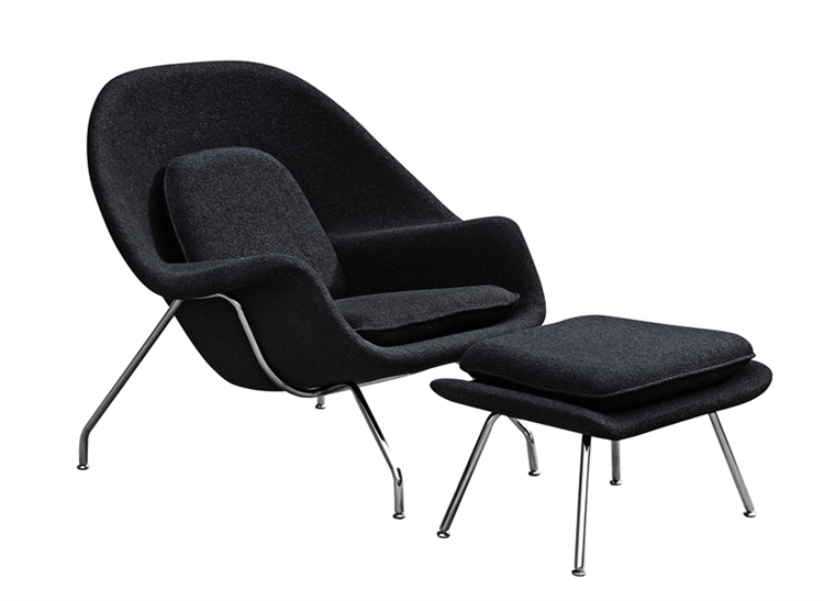 black chair and ottoman 50 s diner table chairs fine mod imports eero saarinen style womb set wool