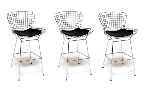 chair mesh stool covers in gorey fine mod imports bertoia style wire bar set of 3