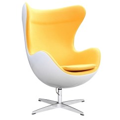 Yellow Office Chair Swing Metal Fine Mod Imports Arne Jacobsen Fiberglass Fiesta Egg In Wool