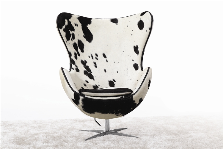 black and white cowhide chair reclining office target arne jacobsen egg in pony cow hide