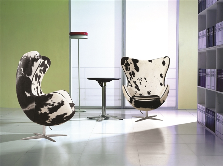 jacobsen egg chair leather medical recliner arne in black and white pony cow hide our