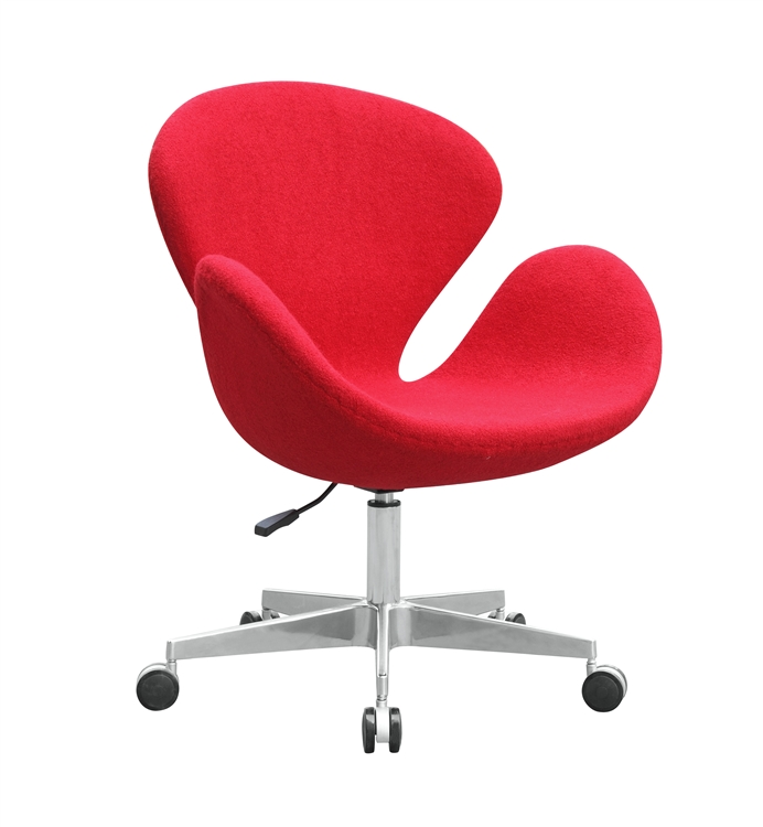 chair with wheels best ergonomic executive office arne jacobsen swan in wool casters fine mod imports