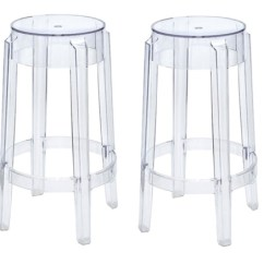 Ghost Bar Chair Gym Ball For Sale Fine Mod Imports Philippe Starck Style Charles Stool Set Of 2