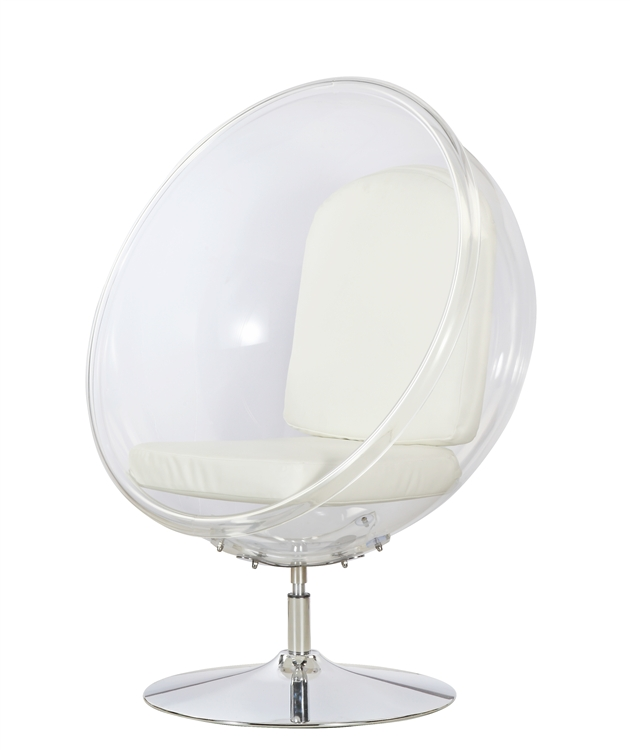 white cushion chair rental chairs for wedding fine mod imports eero aarnio style ball acrylic