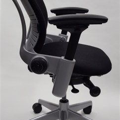 Steelcase Leap Chair White Arm Chairs V2 In Black Fabric Titanium Base Refurbished Our