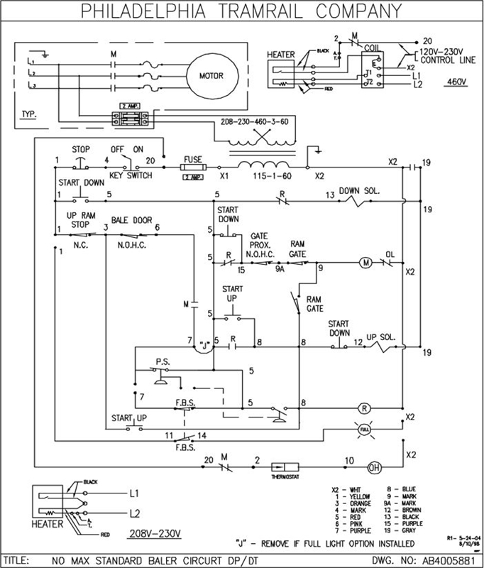 wiring diagram for vertical trash compactor