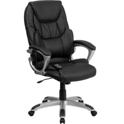 Black Leather Office Chair High Back Baby Shower Decoration Flash Furniture Massaging Executive With Silver Base Br