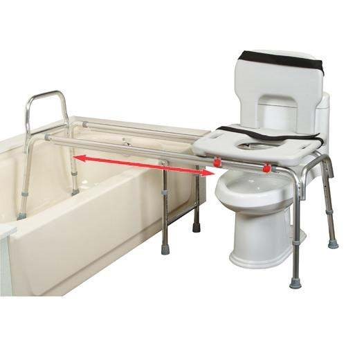 shower chair vs tub transfer bench vintage table and chairs toilet to sliding eagle 77993 extra long glider