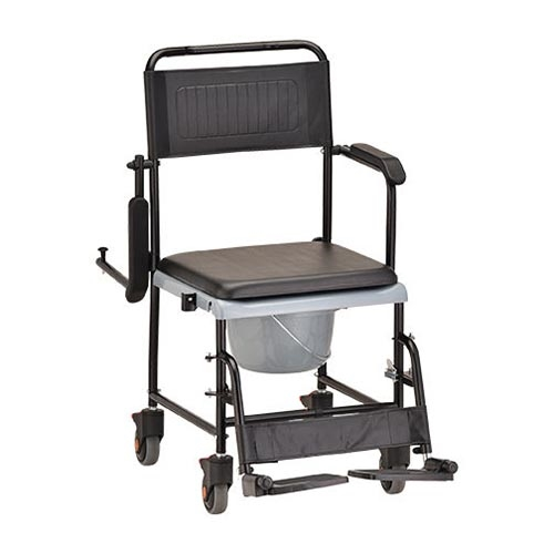 shower chair with wheels and removable arms recliner chairs ikea nova 8805 drop arm commode wheelchair rolling