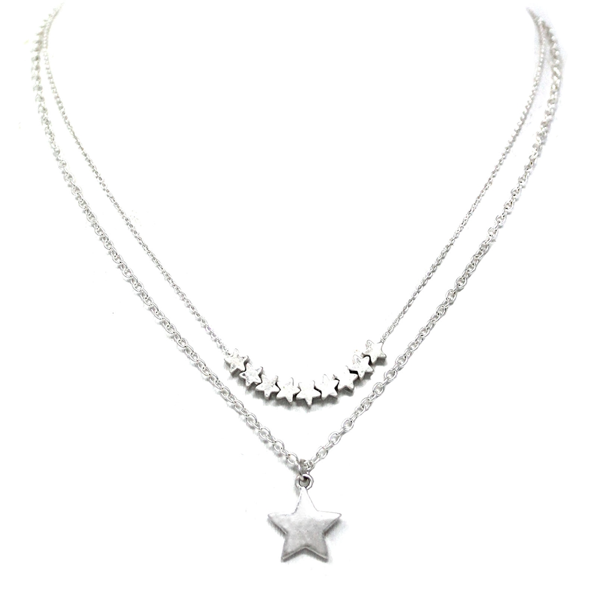Silver Star Two Layer 16 18 Necklace
