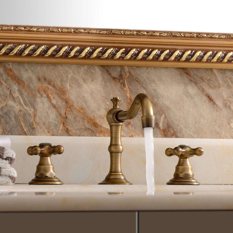modena widespread 8 antique brass bathroom sink faucet dual handle mixer faucet