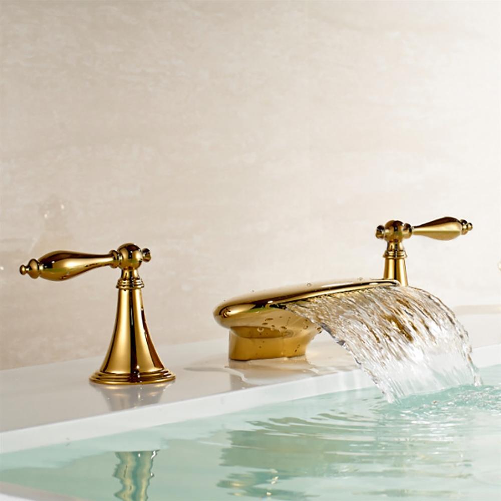 waterfall gold finish bathtub faucet