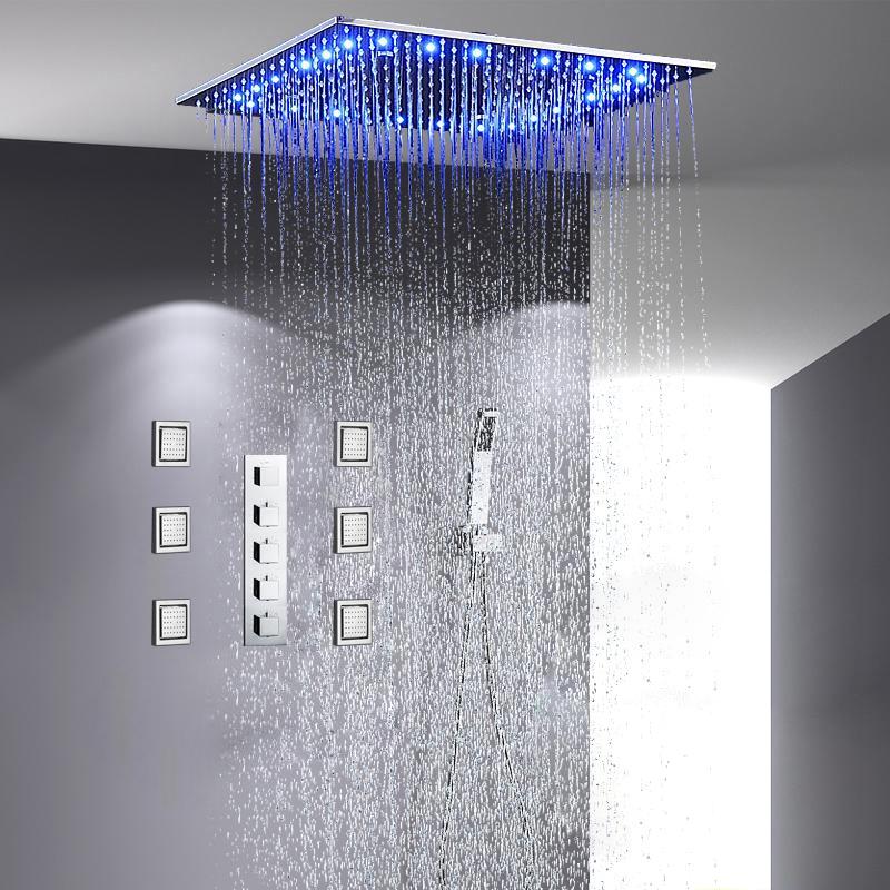 Sicily 40  40 Large Chrome LED Rain Shower Head with